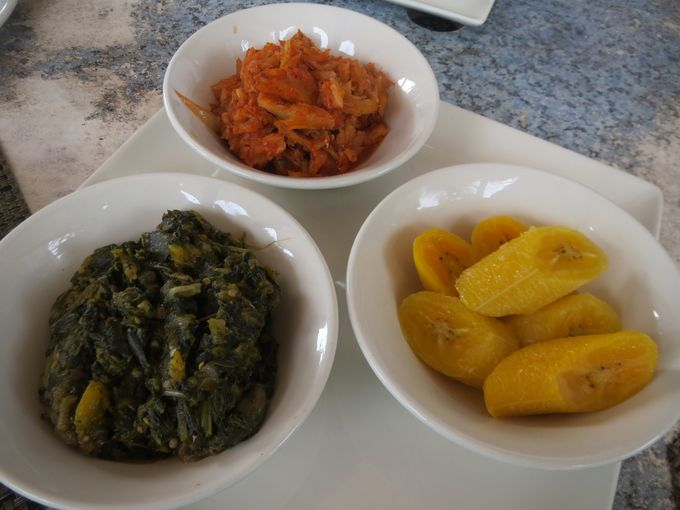 What the islanders call 'Chop Up' is a must-try soft mash-up of spinach, okra and eggplant. Photo Credit Melanie Reffes