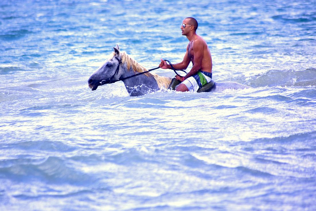 Jamaica horseback riding in sea. Photo Credit Island Routes.