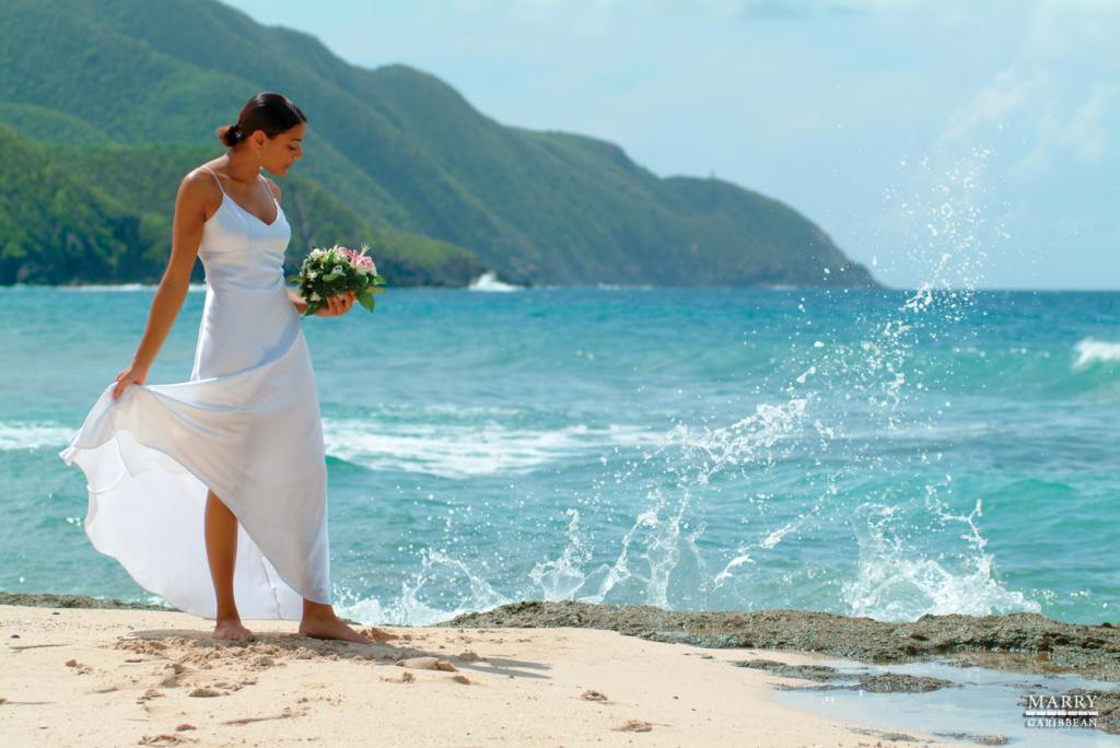 usvi bride on beach